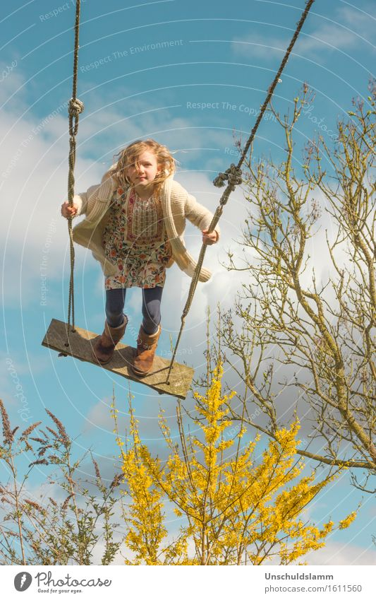 Human being Child Nature Clouds Joy Girl Life Emotions Spring Movement Playing Leisure and hobbies Air Free Idyll Infancy