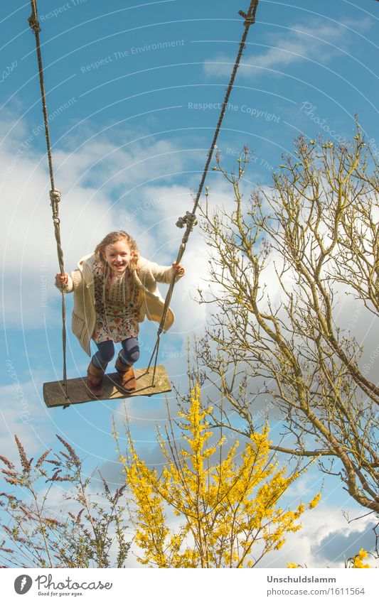 Human being Child Nature Joy Girl Life Spring Movement Playing Laughter Garden Moody Leisure and hobbies Idyll Infancy Wind