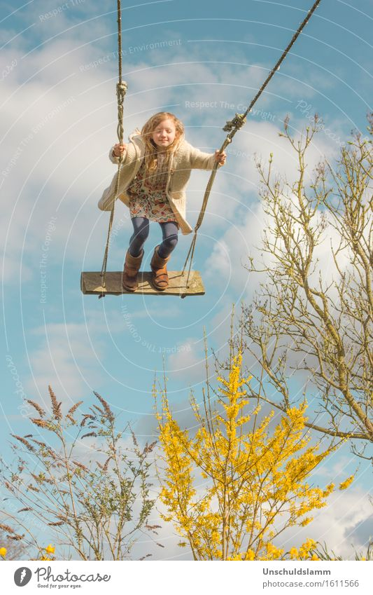 Human being Child Sky Nature Clouds Joy Girl Life Emotions Spring Movement Playing Happy Garden Freedom Dream