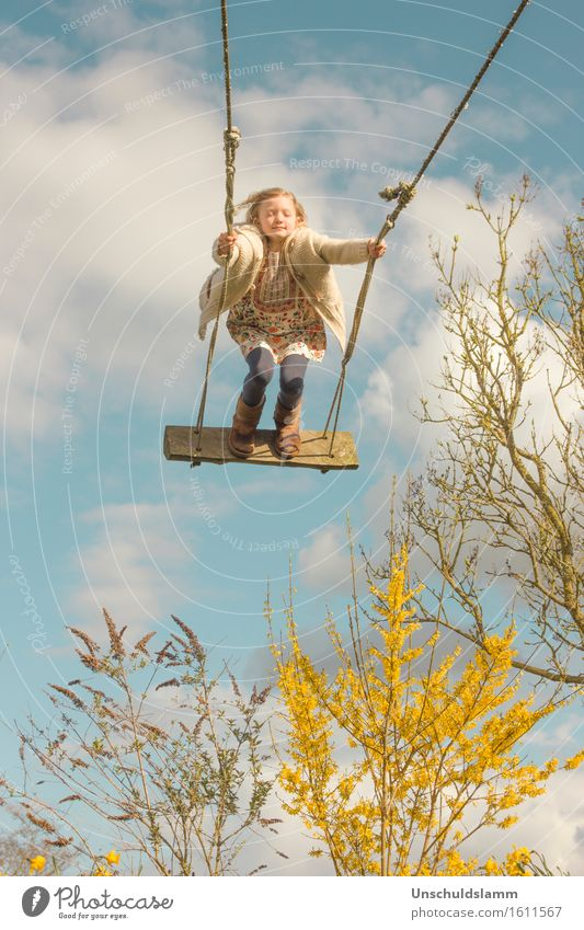 spring dreams Playing Children's game Garden Human being Girl Infancy Life 3 - 8 years Nature Sky Clouds Spring Plant Bushes To swing Dream Happy Infinity Tall