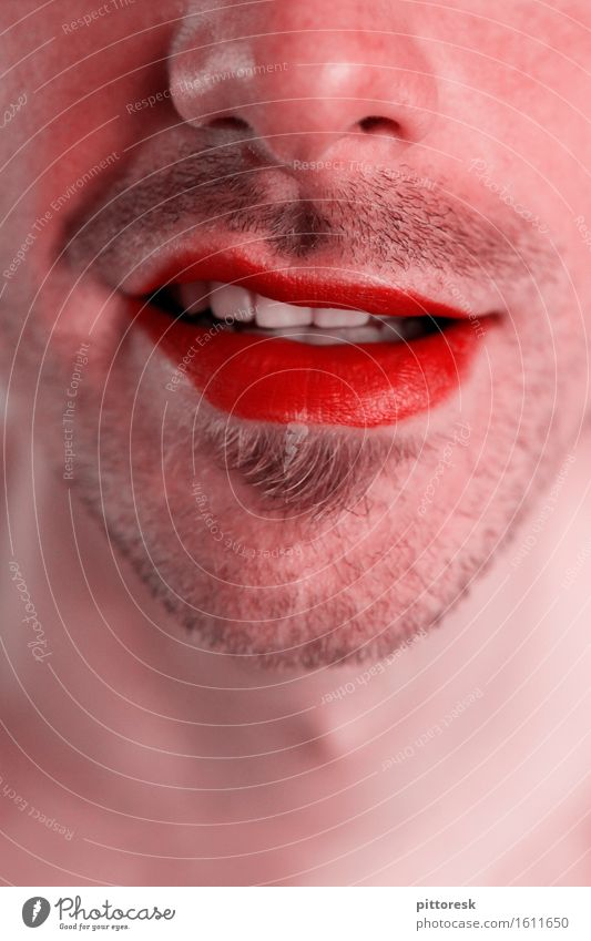 red mouth Art Esthetic Mouth Bad breath Corner of the mouth Smiling Red Lips Lipstick Nose Facial hair Beard hair Masculine Eroticism Face Fashion