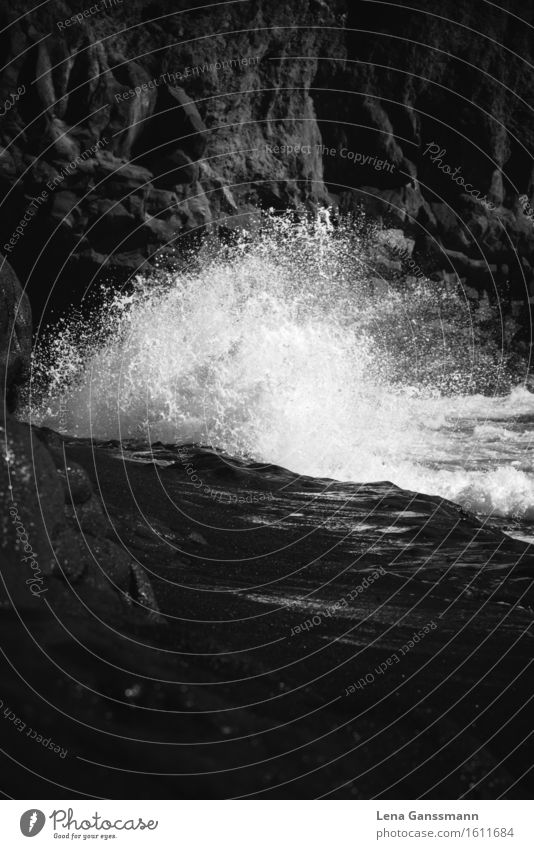 White Wave Black Beach Sunbathing Ocean Island Waves Sand Water Drops of water Summer Coast La Palma Stone Glittering Aggression Esthetic Fluid Fresh Maritime