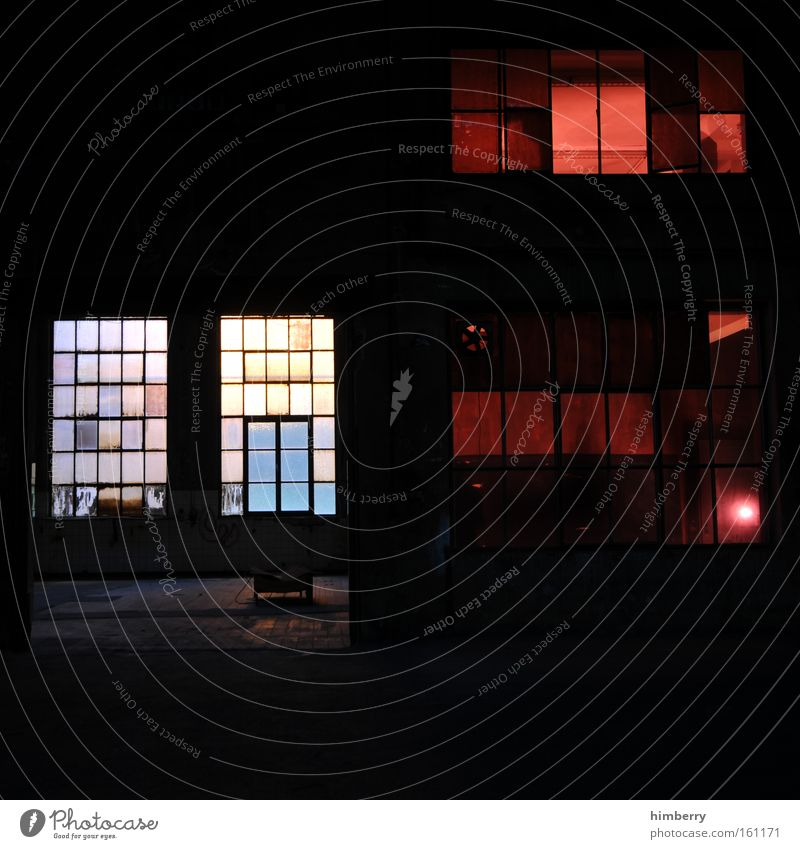 Window Building Industry Industrial Photography Factory Stage Warehouse Factory hall Loft Crime scene Lighting engineering Red light