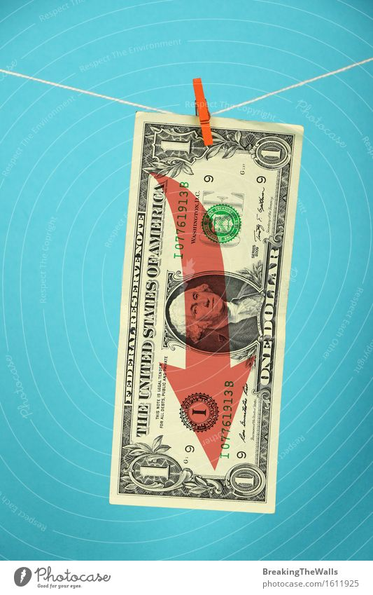 Stagnation and volatility of American economy and US dollar Money Economy Financial Industry Business Rope Dollar symbol Hang Blue Red Crisis Stagnating USA pin