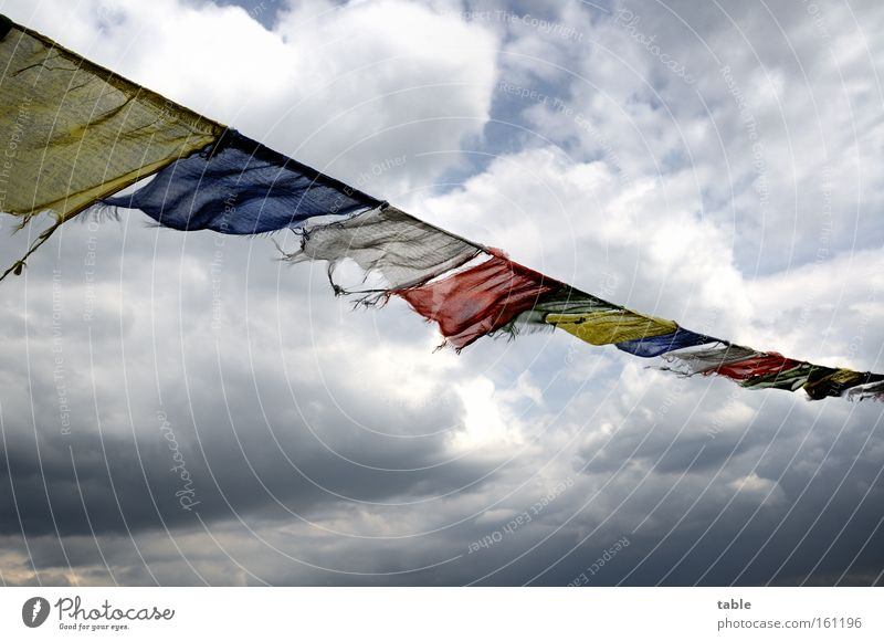 headwind Flag Judder Wind Weather Storm Sky Clouds Dark Hope Religion and faith Yellow Blue Red Emotions Feeble Blow