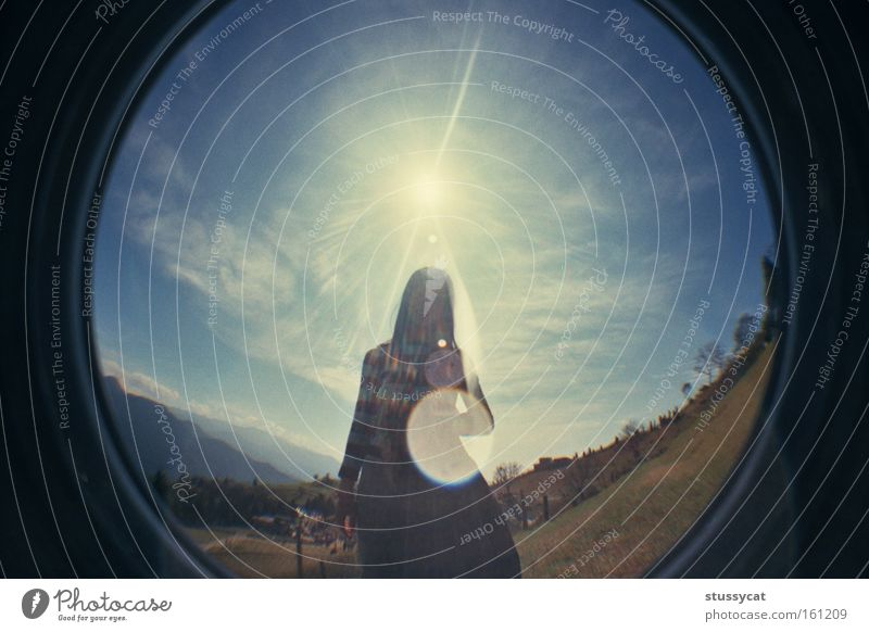 radiance Clouds Girl Woman Mountain Sky Grass Blue Green Joy Fisheye Lomography radiant Taiwan Large-scale holdings