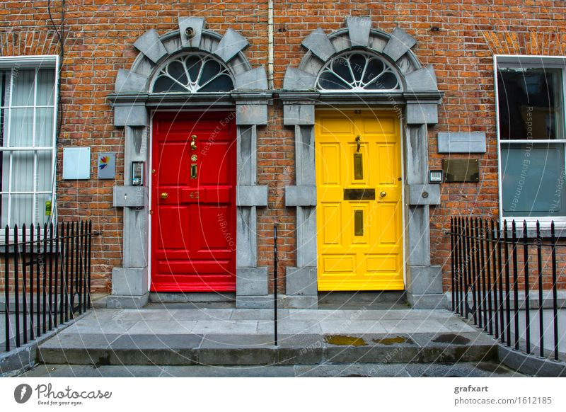 Red House (Residential Structure) Window Yellow Architecture Building Facade Flat (apartment) Stairs Door Closed Safety Apartment Building Banister Brick