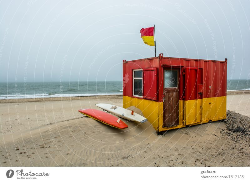 Lifeguard station on beach near Brittas Bay in Ireland Beach Ocean Bay watch Surfboard Sand Coast Wind Atlantic Ocean Pool attendant Beach dune Flag Landscape