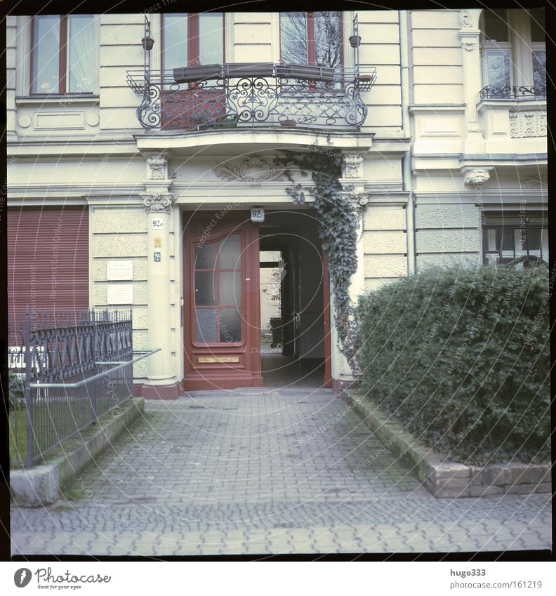 Old House (Residential Structure) Street Berlin Door Decoration Balcony Entrance Traffic infrastructure Hedge Paving stone Medium format Kreuzberg