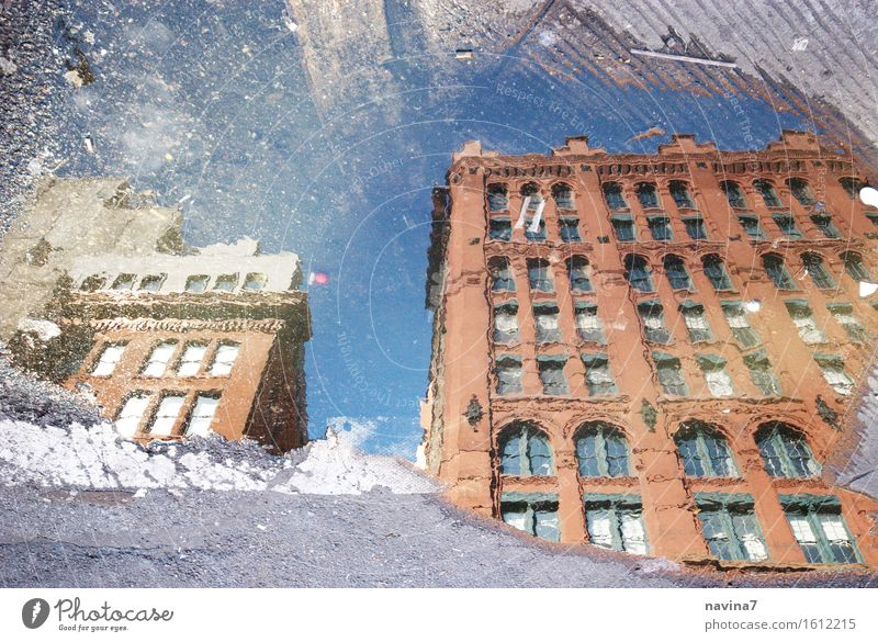 New York brownstone New York City Old town Deserted Facade Curiosity Mirror image Puddle Rain Window Colour photo Exterior shot Day