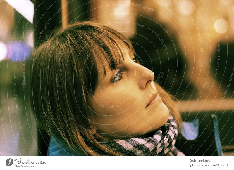 lost in thought Woman Portrait photograph Thought Think Meditative Underground Face Doomed Scarf Gap Railroad Looking Feminine Concentrate Beautiful
