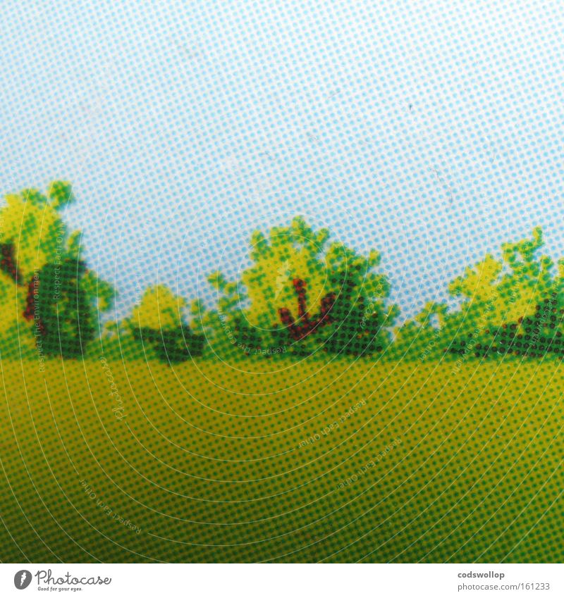 Tree Summer Meadow Landscape Field Forest Illustration Pressure Grid Physics Clump of trees Rural conservation