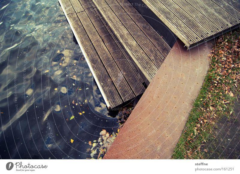 it banks out Spree River Lakeside River bank Channel Flood Footbridge Stairs Wood Lawn Jetty embankment Escarpment