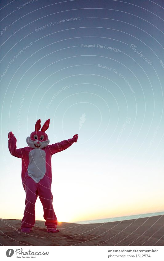 Samba hare Art Work of art Esthetic Hare & Rabbit & Bunny Hare ears Hare hunting Rabbit's foot Pink Blue sky Carnival costume Disguised Costume Party mood