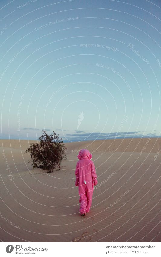 Cheöö II Art Work of art Esthetic Pink Costume Disguised Walking Going Loneliness Bushes Far-off places Goodbye Sky Colour photo Multicoloured Exterior shot