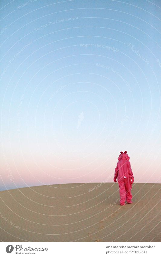 Cheöö I Art Work of art Esthetic Walking Going Loneliness Desert Surrealism Costume Pink Eye-catcher Patch of colour Disguised Animal Creativity Colour photo