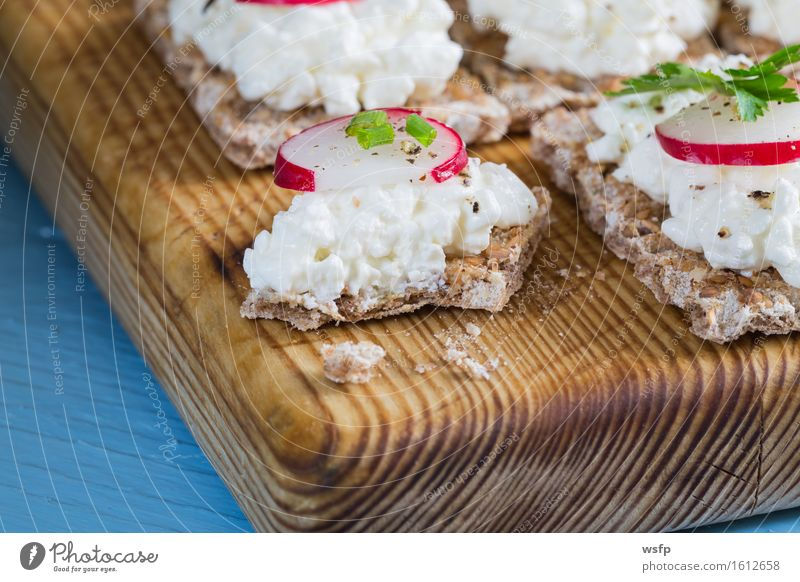 Blue Wood Herbs and spices Wooden board Rustic Snack Country house Parsley Chives Radish Dill Wholewheat Crispbread Cream cheese