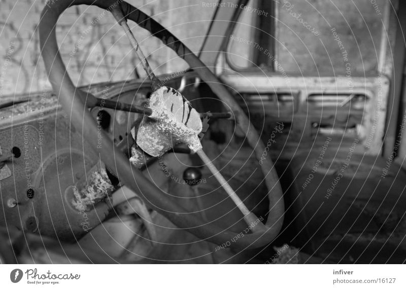 steering Truck Steering wheel Transport Car Black & white photo driver's side