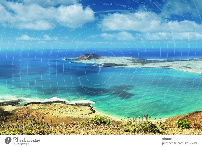 let's swim Vacation & Travel Trip Far-off places Summer vacation Sun Beach Ocean Island Clouds Waves Coast Lanzarote La Craciosa Canaries Infinity Maritime Blue