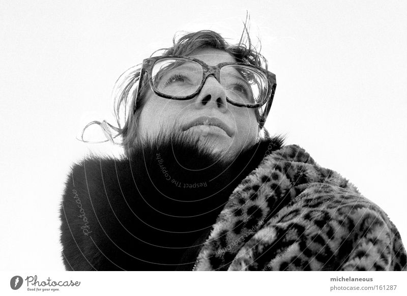 Woman Sky White Black Far-off places Freedom Happy Perspective Eyeglasses Pelt Longing Curl Concern Foreign Stranger Black & white photo