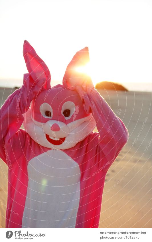 ohmannoman Art Work of art Esthetic Hare & Rabbit & Bunny Hare ears Rabbit's foot Sun Easter Pink Costume Joy Comical Funster The fun-loving society Funny