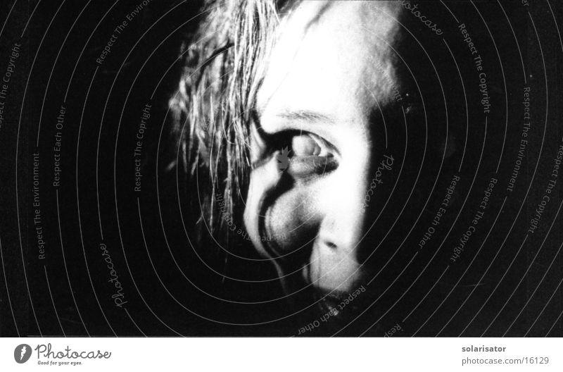 Woman White Black Eyes Gray Creepy Lens Frightening Monster