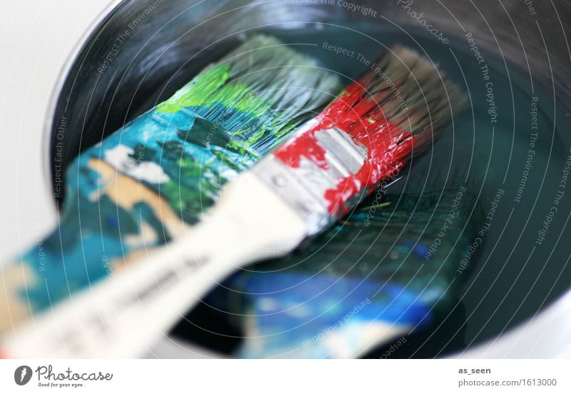 Blue Green Colour Red Calm Wood Lie Leisure and hobbies Creativity Idea Wet Painting (action, artwork) Picturesque Clean Cleaning Painting (action, work)