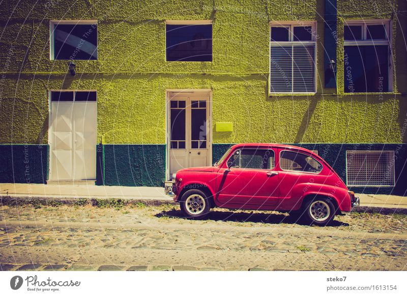 Green Red Street Facade Car Uniqueness Flashy Small car