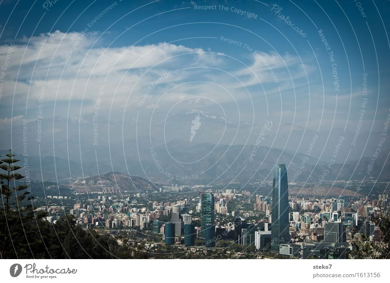 City Clouds Mountain Growth Modern High-rise Perspective Might Skyline Capital city Bank building Society Trade Financial Industry Chile South America