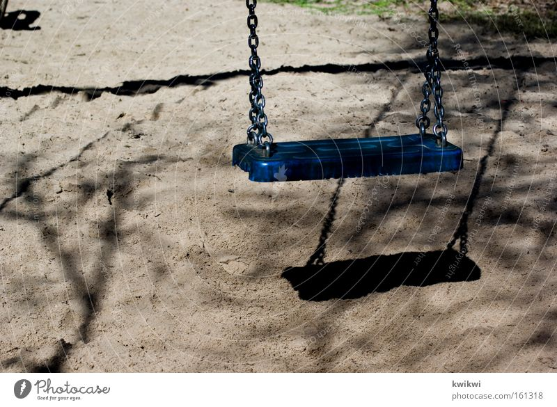 blue swing Swing Blue Kindergarten Playing Playground Loneliness Going Happy Joy