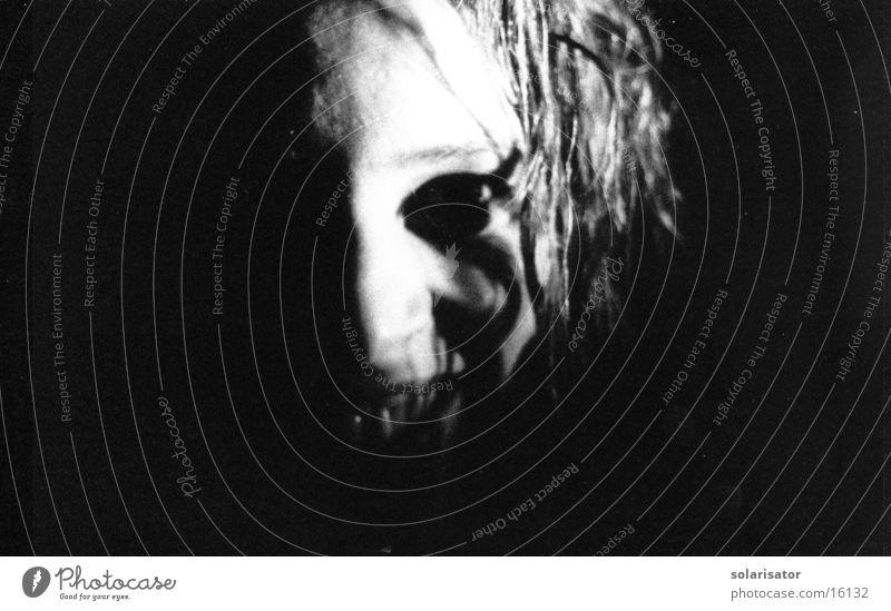Woman White Face Black Mask Frightening Monster Harrowing