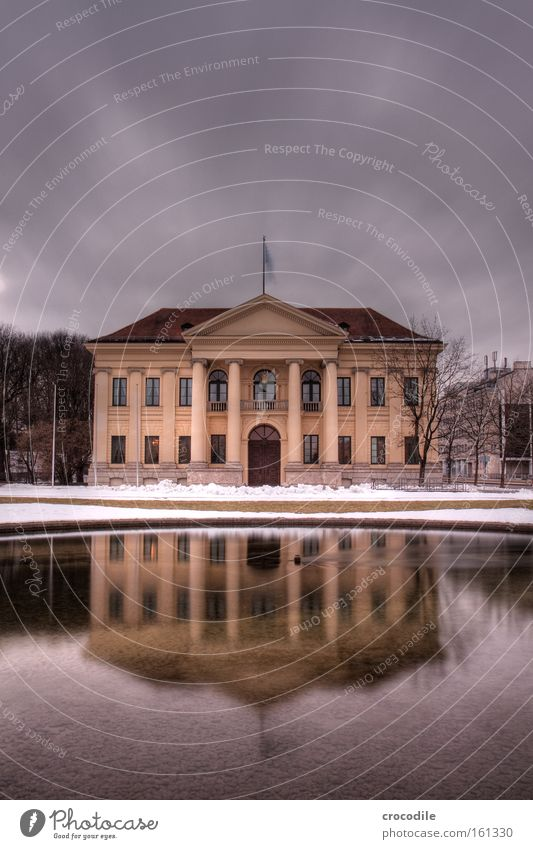 Prince Carl Palace Farmhouse Munich House (Residential Structure) Dark Lake Pond Reflection Winter Snow Column Hofgarten Bavaria Noble Grand Historic Landmark