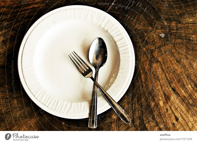 Lent Nutrition Fasting Crockery Plate Cutlery Fork Spoon Table Appetite Set meal Porcelain Midday Wooden table Meal malnutrition Diet light diet Empty