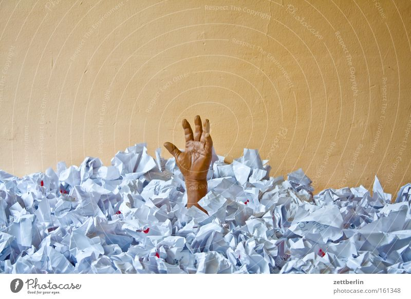 Help! Help! Go under Drown Paper Trash Dispose of Concern Look after Financial Crisis Administration Heap Hand Fear Panic Dangerous Kafka