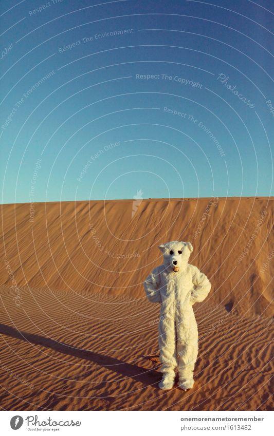 What's going on? Art Work of art Esthetic Ice Polar Bear Desert Irritation Lost Sand Crazy Exceptional Creativity Costume Eye-catcher White Pelt Hot Warmth
