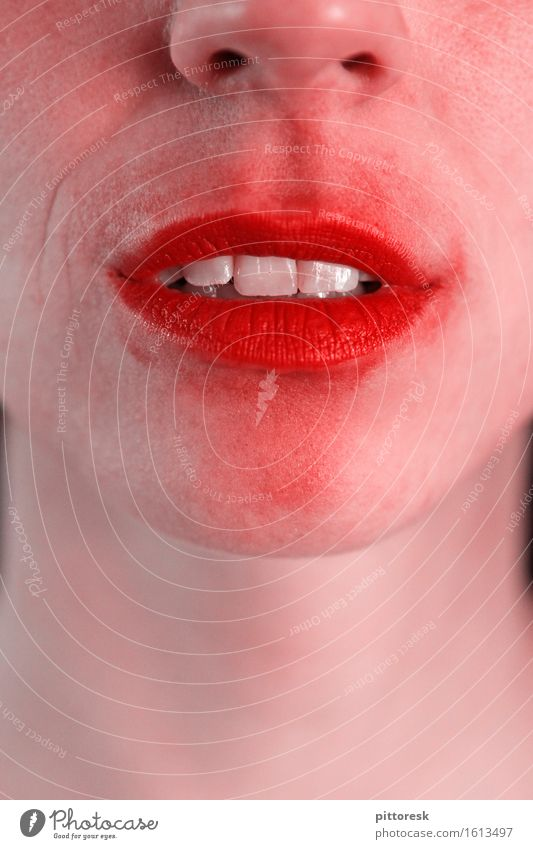 zerknutschtsie Art Esthetic Lips Lipstick Lip care Feminine Teeth Emotions Unemotional Smiling Mouth Kissing Red Colour photo Multicoloured Interior shot