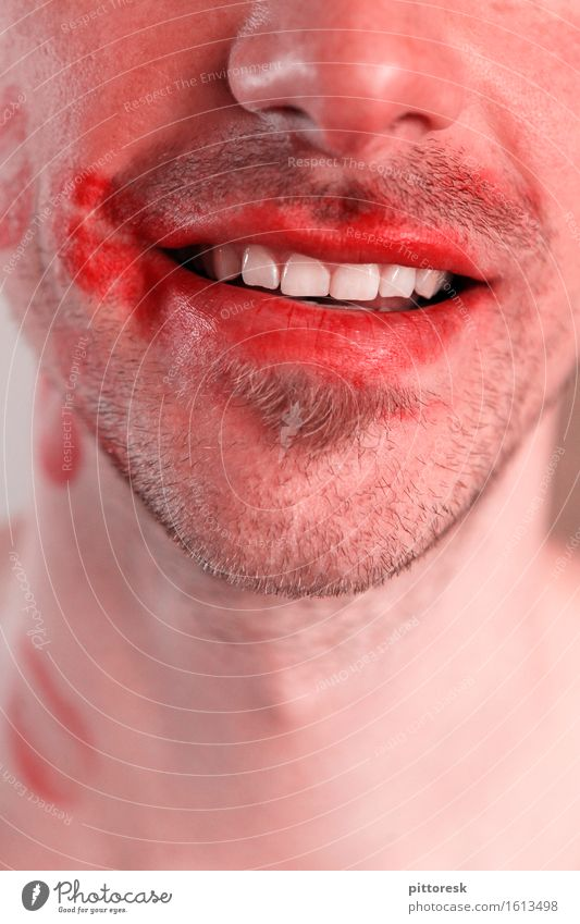 more smashed Art Esthetic Love bite Kissing Pout Lipstick Impish Womanizer Teeth Smiling Eroticism Nose Facial hair Masculine Alluring Youth (Young adults)