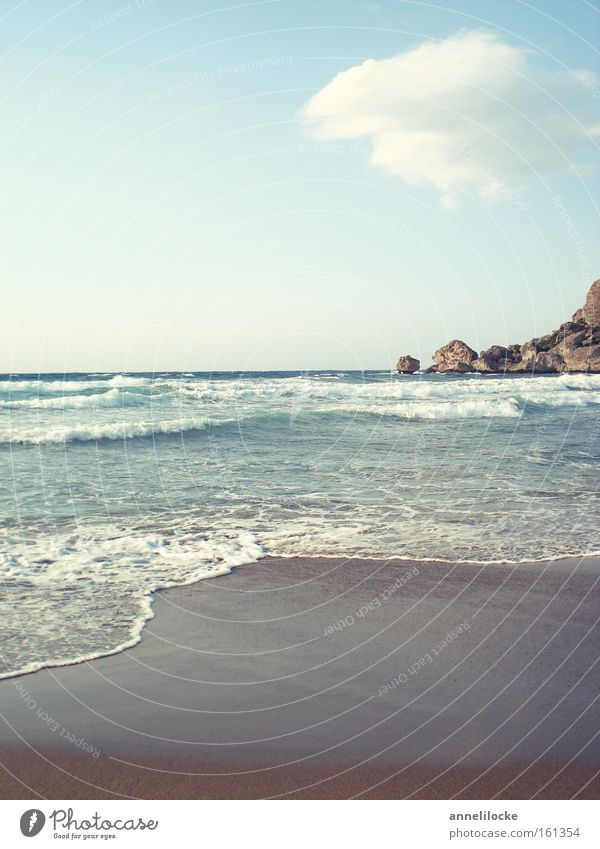 Water Ocean Summer Beach Vacation & Travel Calm Clouds Relaxation Sand Waves Coast Horizon Rock Island Tourism Idyll