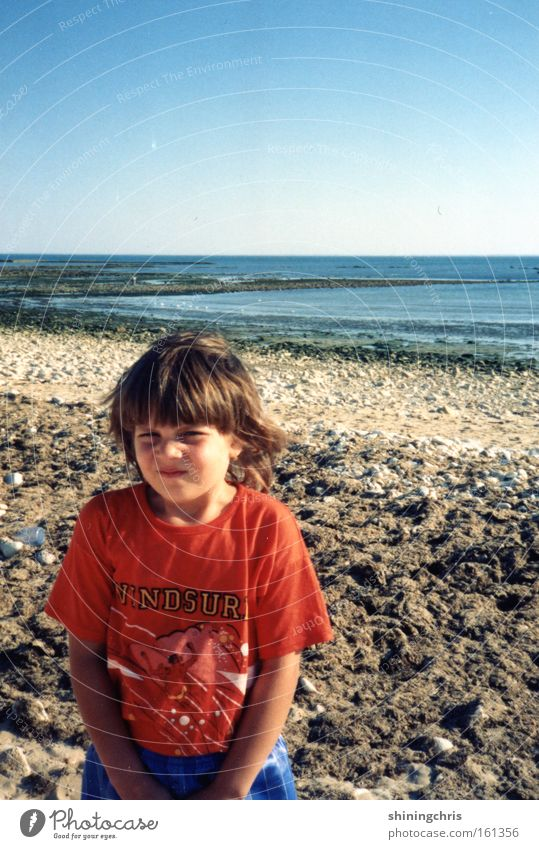 Child Sky Red Ocean Summer Girl Beach Stone Mouth Beautiful weather France The eighties Vendée La Rochelle