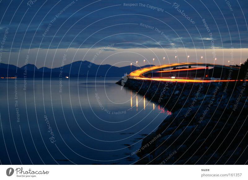 Vacation & Travel Blue Ocean Landscape Dark Mountain Street Movement Exceptional Illuminate Transport Speed Future Fantastic Bridge Infinity