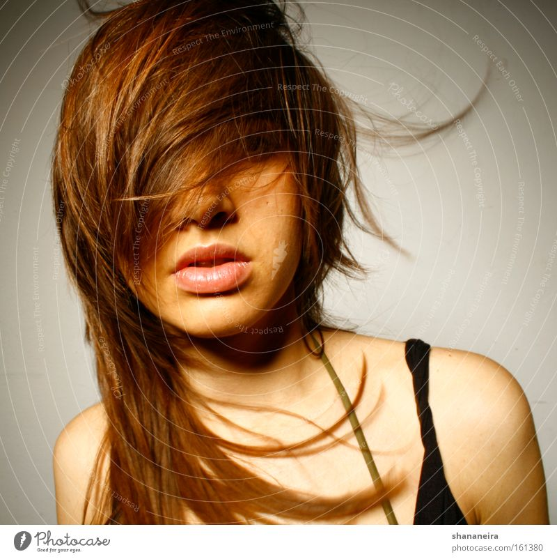 nice hair Beautiful Hair and hairstyles Feminine Woman Adults Mouth Lips Wind Brunette Esthetic Hair dryer Hairdresser Colour photo Studio shot