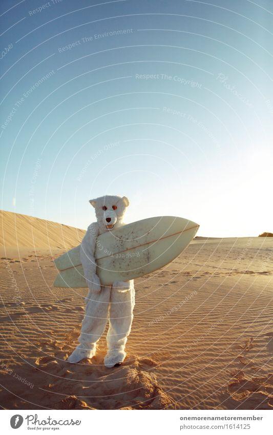 WHY NOT? Art Work of art Esthetic Polar Bear Surfboard Surfing Surfer Surf school Sand Desert Far-off places Blue sky Summer Summer vacation Sports