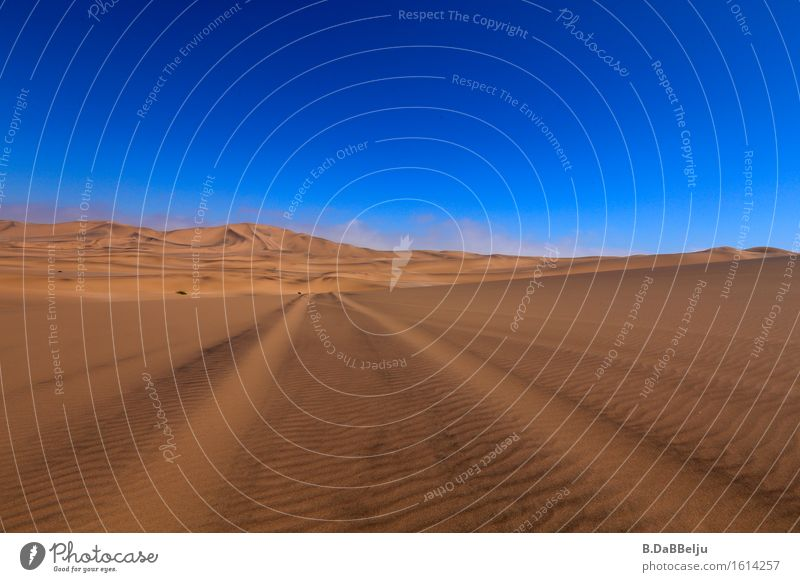 Sky Vacation & Travel Blue Landscape Loneliness Far-off places Yellow Warmth Freedom Brown Sand Horizon Esthetic Adventure Hill Desert