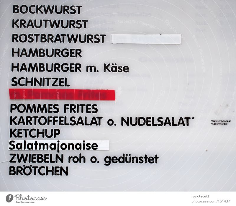 Viennese Schnitzel with potato salad, please White Red Black Letters (alphabet) Funny Dish Signs and labeling To enjoy Plastic Gastronomy Information Overweight
