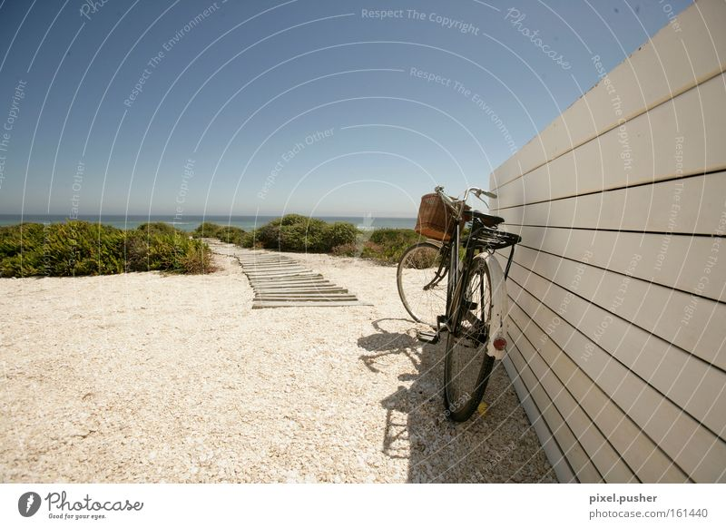 beach bike Bicycle Beach Footbridge Dune Relaxation Vacation & Travel Sand Sky Ocean Blue holiday