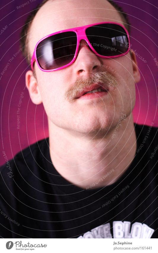 Man Adults Style Pink Crazy Communicate Cool (slang) Retro Anger Eyeglasses Evil Trashy Sunglasses Aggression Rebellious Moustache
