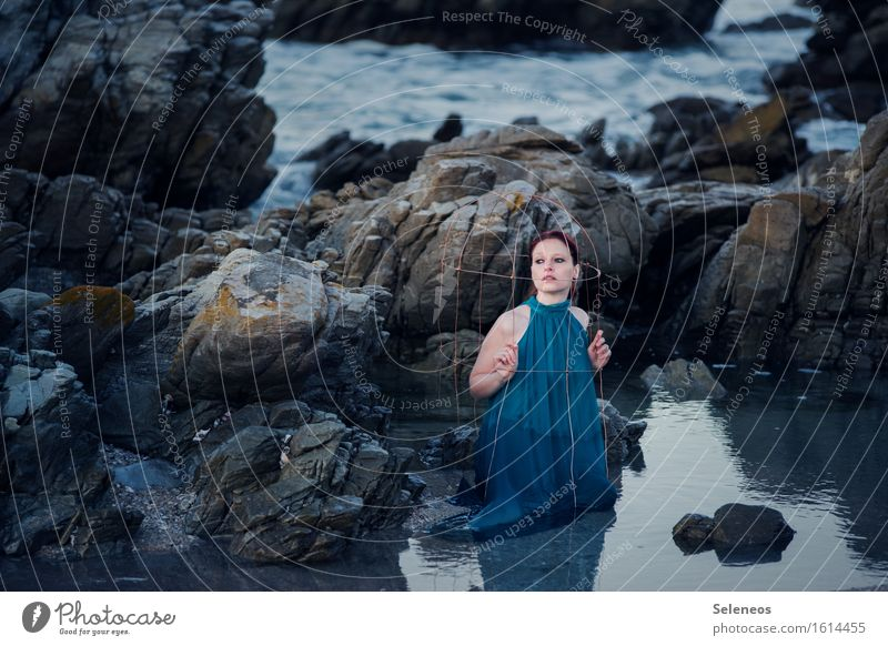 . Beach Ocean Waves Human being Feminine Woman Adults 1 Environment Nature Water Rock coast Cage Wet naturally Colour photo Exterior shot Morning