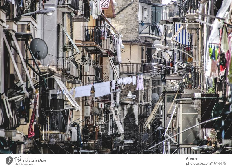 City House (Residential Structure) Street Architecture Gray Facade Living or residing Creativity Uniqueness Idea Italy Many Balcony Chaos Old town Hang