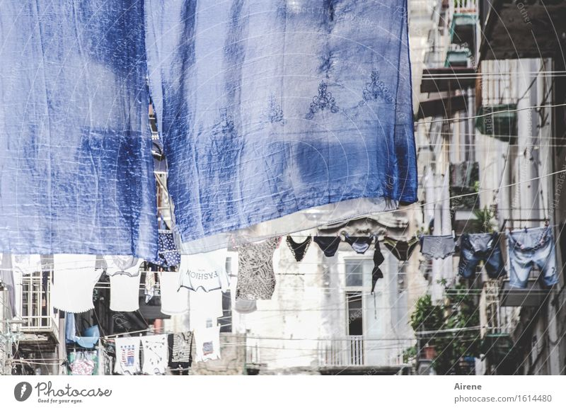 big wash Old town Facade Laundry clothesline Balcony Street Housefront Pants Underwear Bedclothes Washing day Hang Authentic Town Blue White Cleanliness