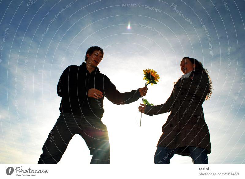 Woman Man Sky Sun Flower Joy Winter Love Blossom Friendship Gift Human being Sunflower Surprise Affection Marriage proposal